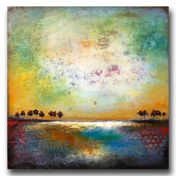 Colorful abstract landscape with trees