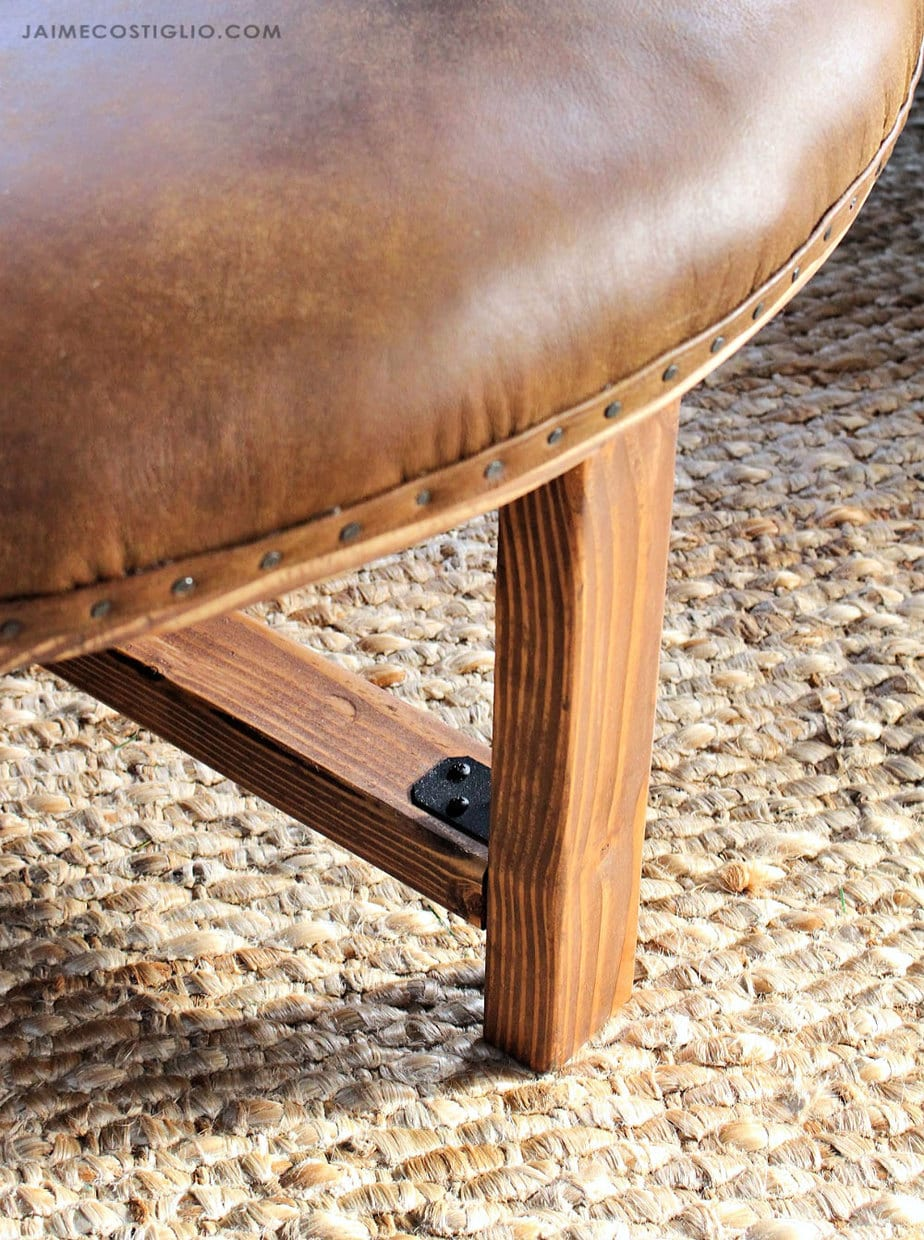 diy round leather upholstered ottoman