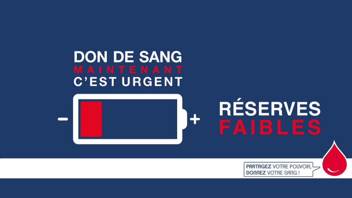"""Appel urgent aux dons de sang en raison de réserves """"trop basses"""""""