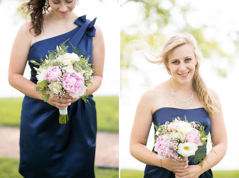 bridesmaids-blue-dresses-one-shoulder-navy-green-pink-roses-peonies