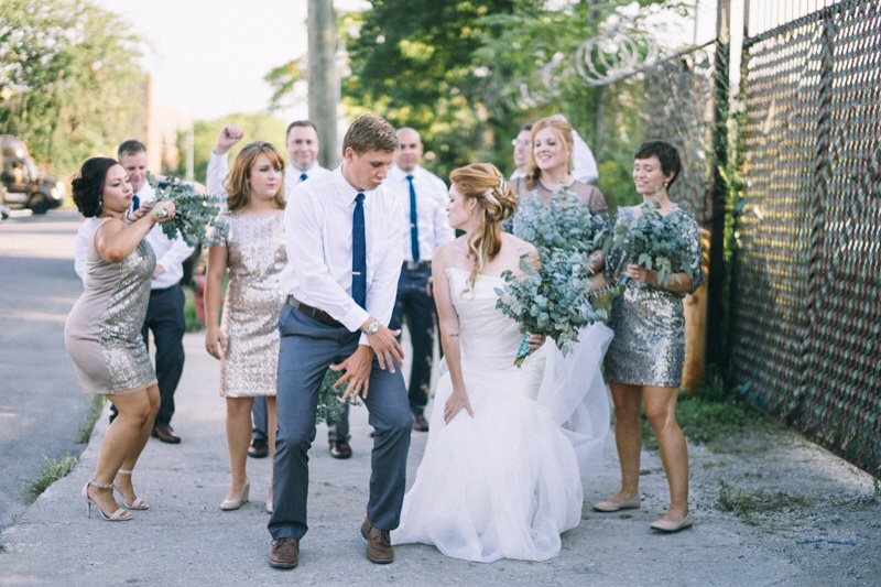 Bridal party with gold glitter dress and eucalyptus bouquets
