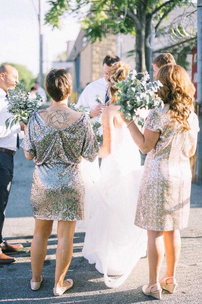 Urban Chicago street wedding gold glitter bridesmaid dresses
