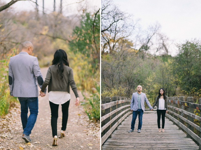 fall engagement photos in the fall down by the river