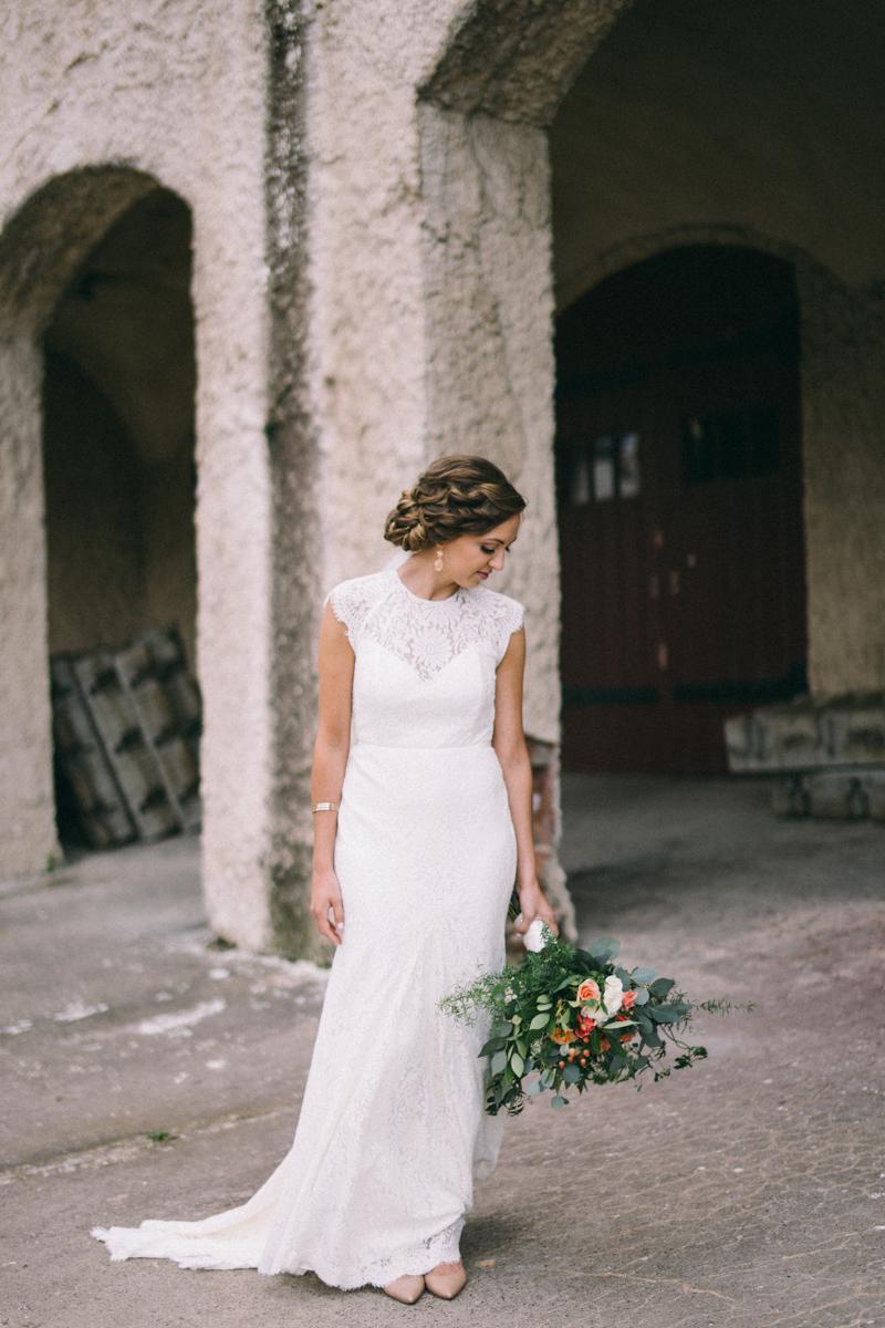 Bride infront of Minnesota Boat Club Fine Art Wedding Photography