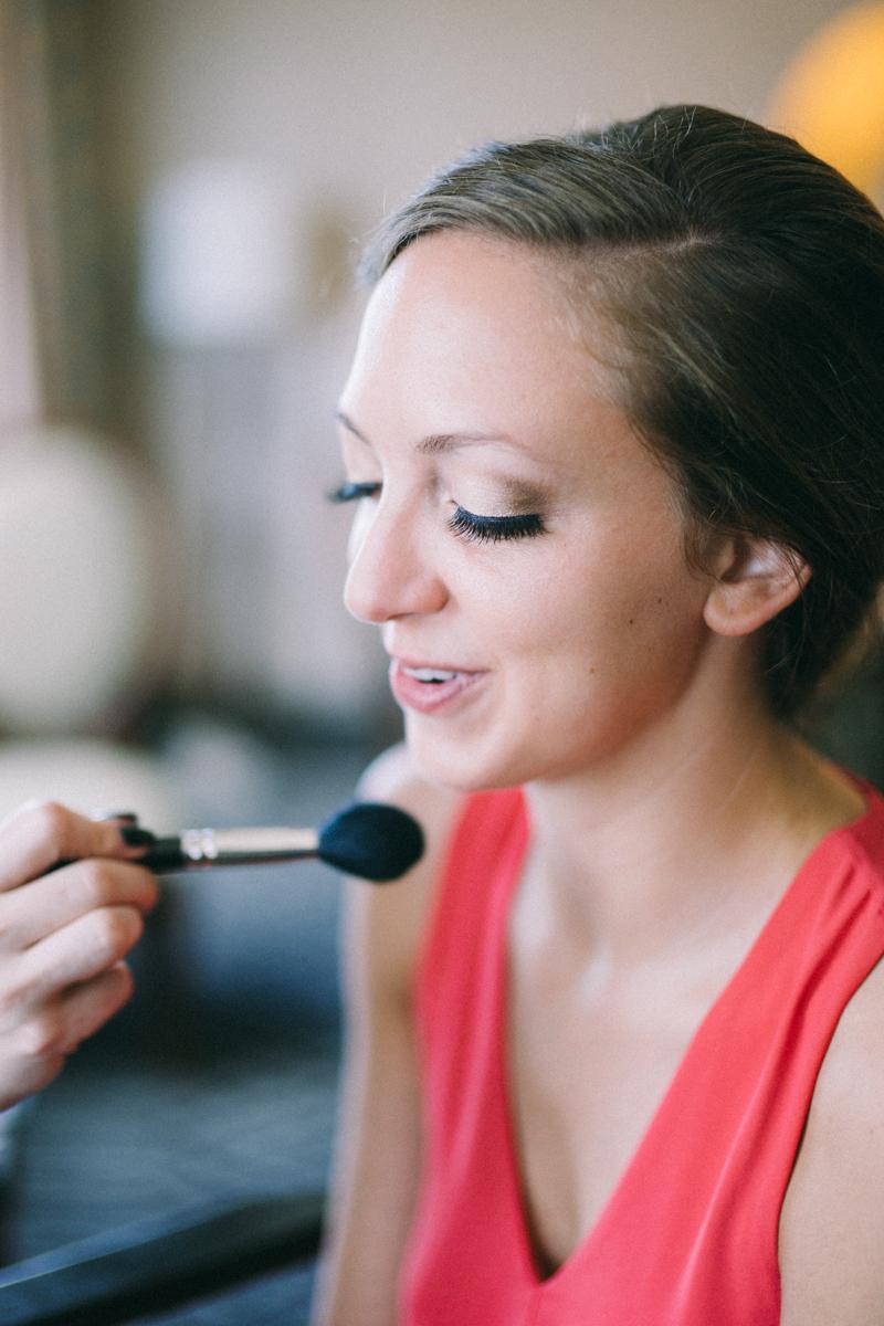 Bride getting makeup done in St Paul Minnesota
