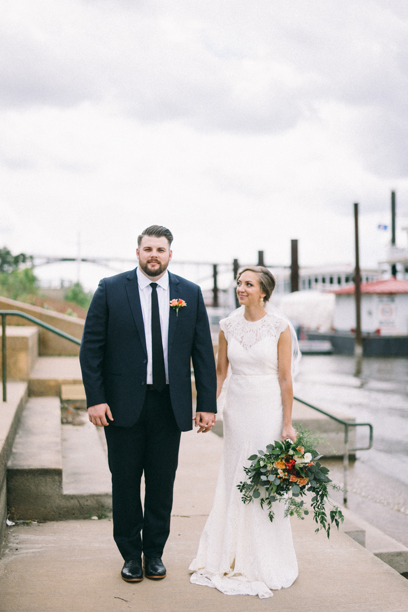 Bride and Groom by river in St Paul