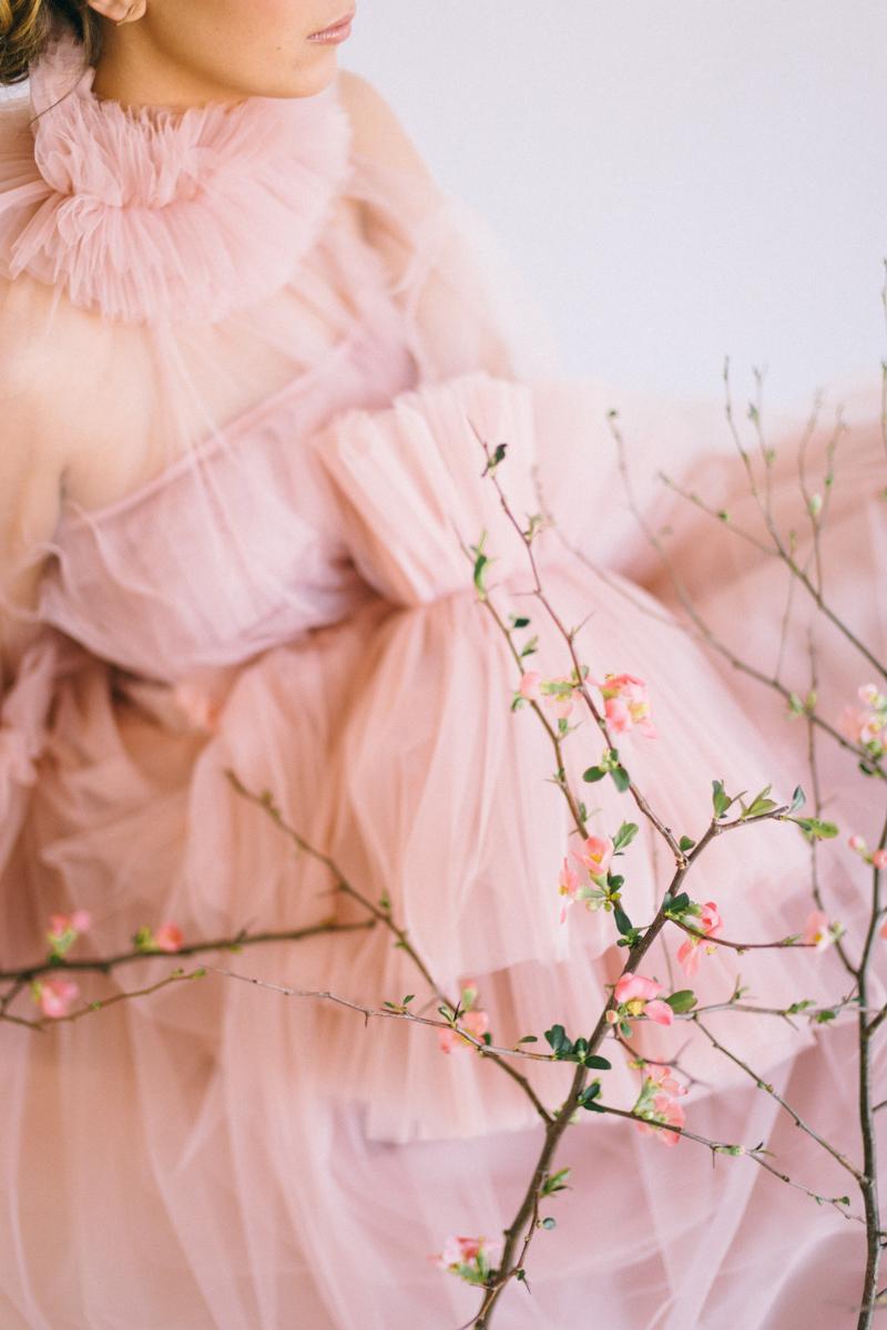 couture wedding fashion blush tulle