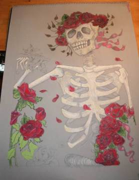 a pastel painting of a skeleton with roses used in Grateful Dead art
