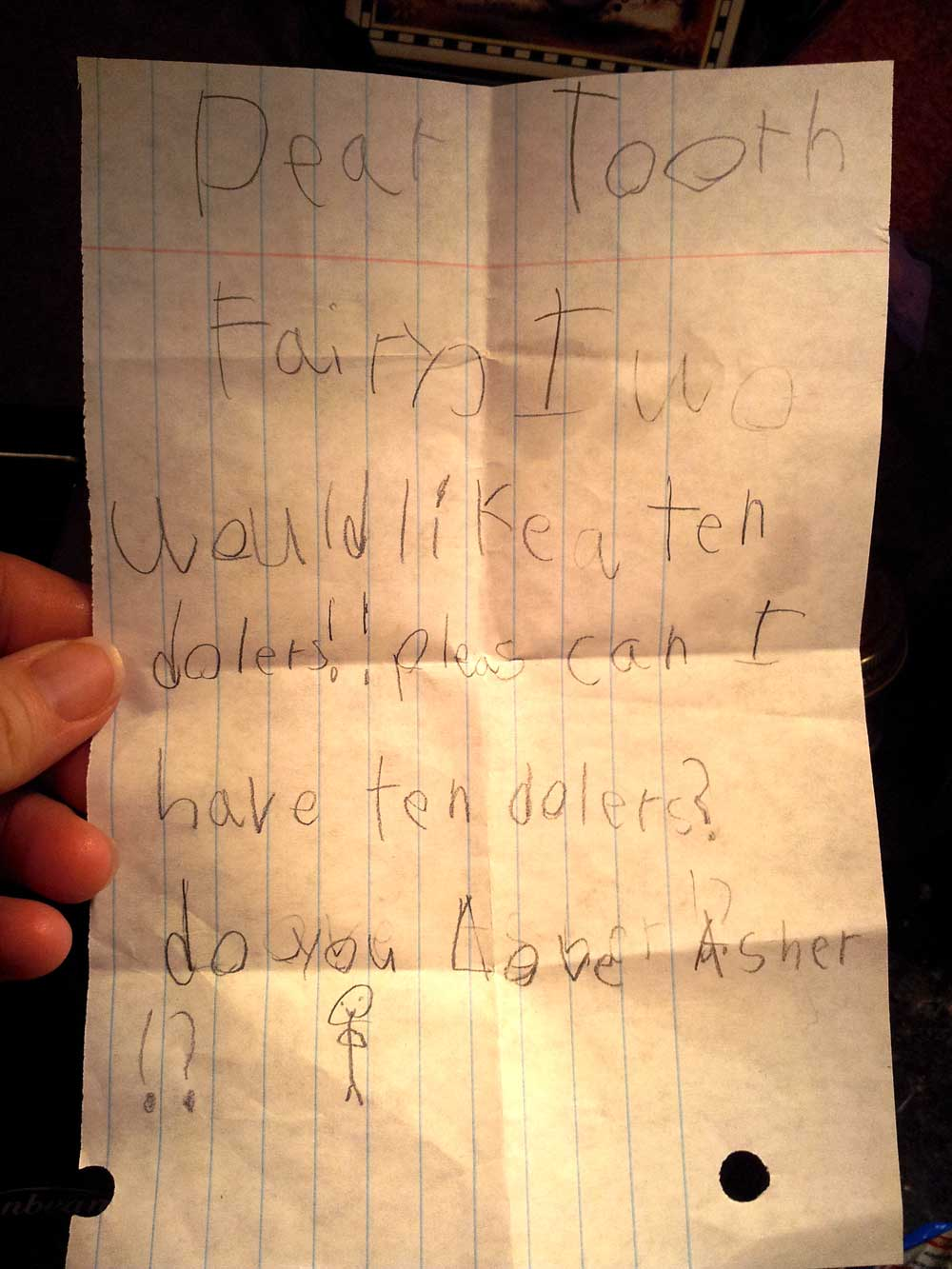 Asher's letter to the Tooth Fairy
