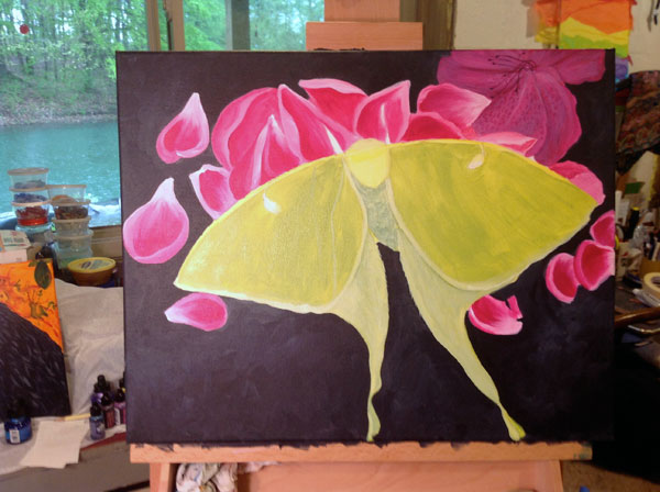 Luna Moth work in progress