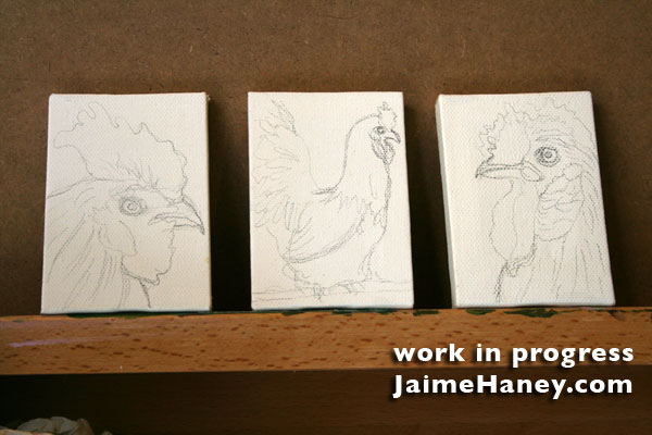 3 miniature canvases of roosters and hens