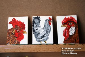 3 chicken paintings