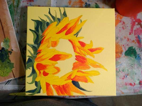 Sunflower work in progress