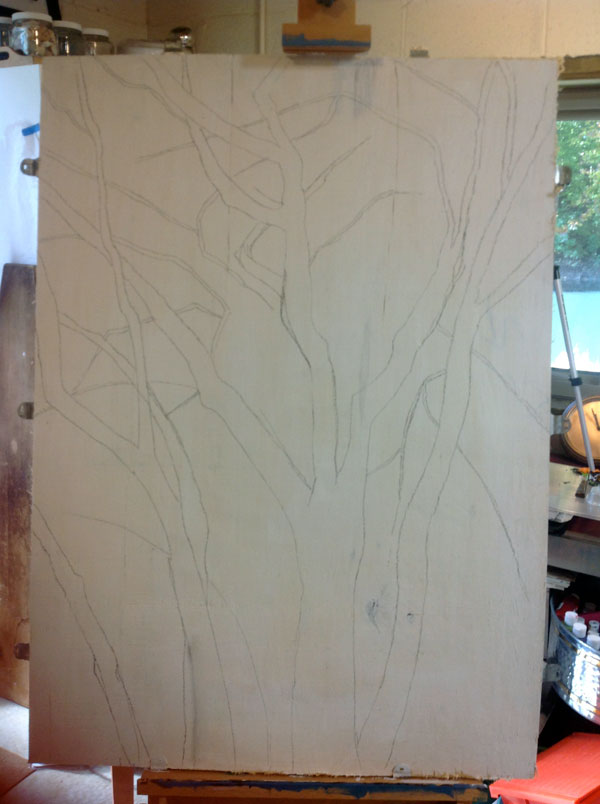 beginning of painting, a sketch