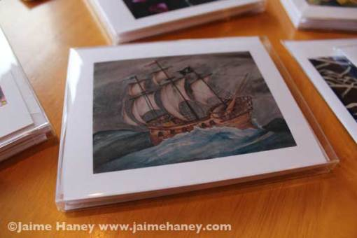 Wooden Pirate Ship A2 note card set in jewel box container