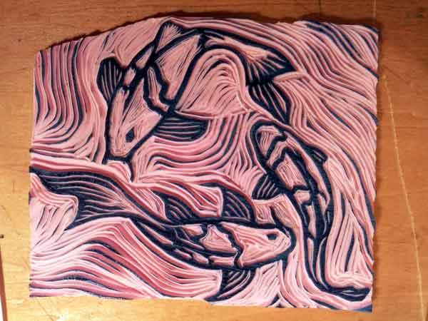 my swimming fish stamp carving