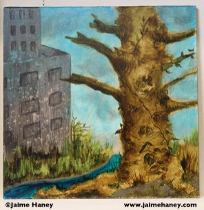 painting of dead tree and building with creek or stream in between