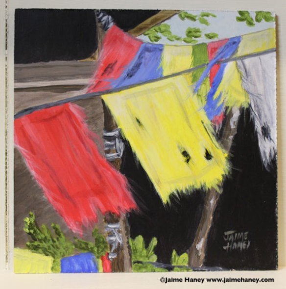 painting of weathered Tibetan Prayer flags blowing in the gentle breeze