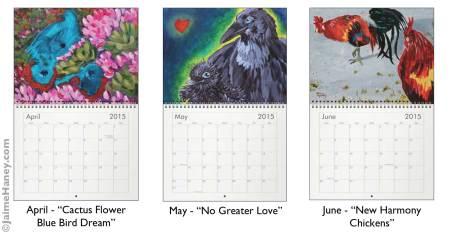 April May June paintings for 2015 wall calendar