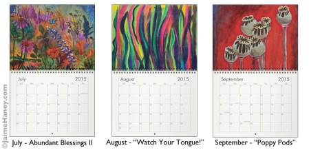 July, August & September paintings for 2015 Wall calendar by Jaime Haney
