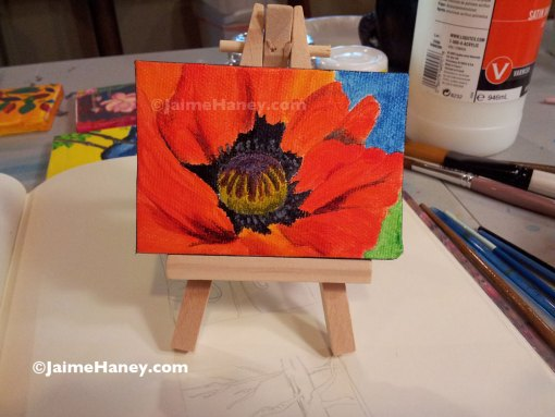 Original Miniature painting on easel