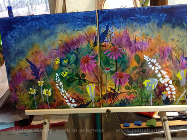Abundant Blessings work in progress on easel - 2 canvases