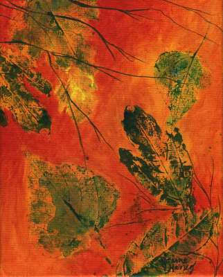 abstract painting of warm glowing sky with falling leaves