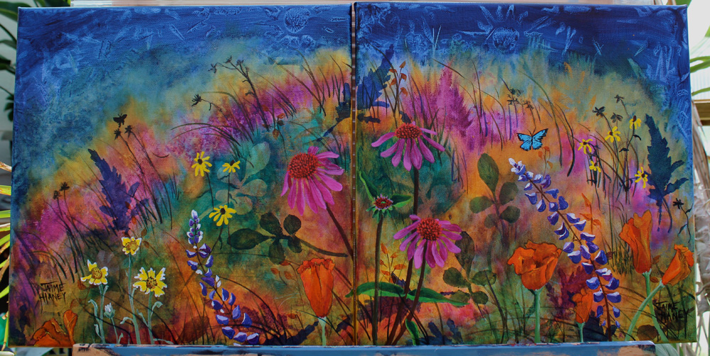 both canvases together make up whole painting titled Abundant Blessings
