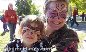Happy friends with painted faces