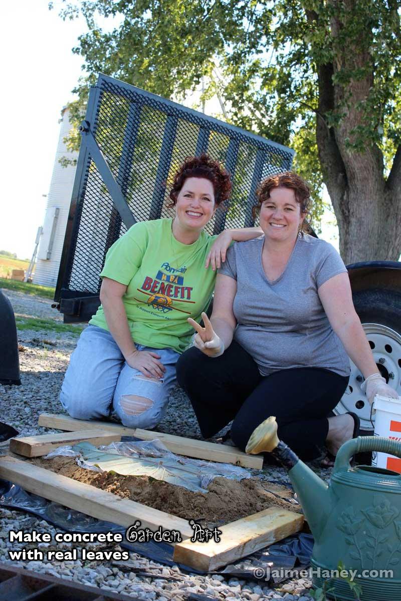 Jaime & Amelia making homemade concrete leaf for garden art