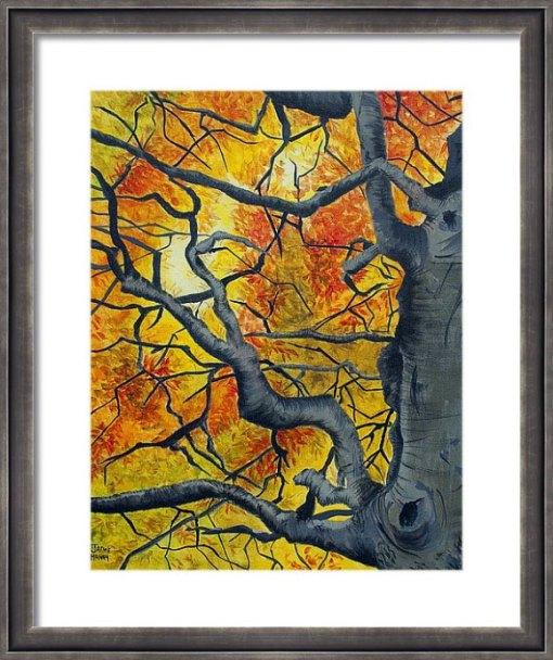 Tangled vibrant autumn leaves print shown in frame