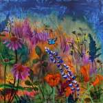 Vividly painted wildflower field on hill