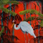 Sarus Crane in tropical setting with red background and fern silhouettes