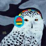 Black and white Snowy owl wearing striped colorful ear muffs