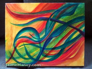 Canvas #1 of Mellifluous Wind, a triptych