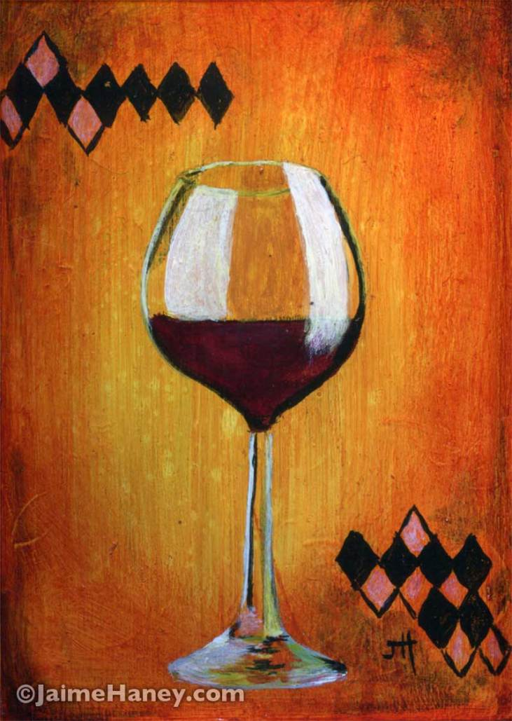 Nectar of the Gods painting of wine glass with red wine
