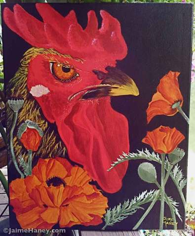 Rooster with orange poppies on a black background