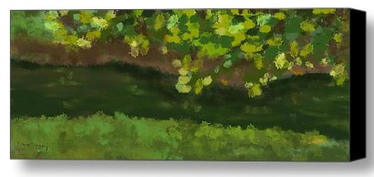 abstract landscape of green leaves, grass and lake