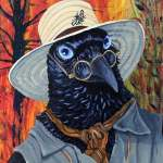 Raven dressed in vest, scarf, glasses and straw hat