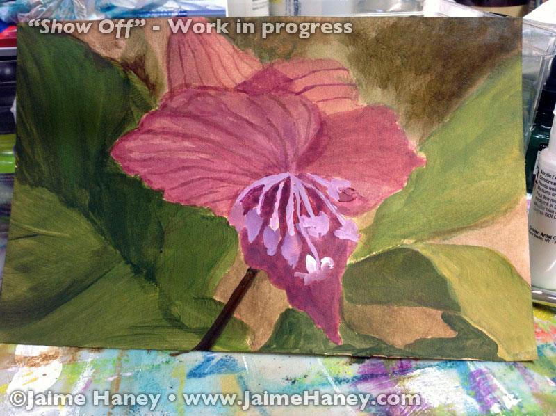 underpainting of Black Bat Flower