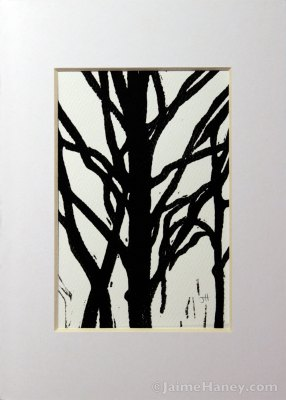 black tree mono-print with white mat