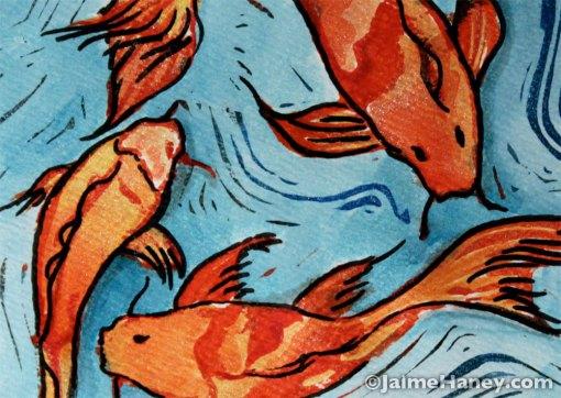 close up of koi fish mono print