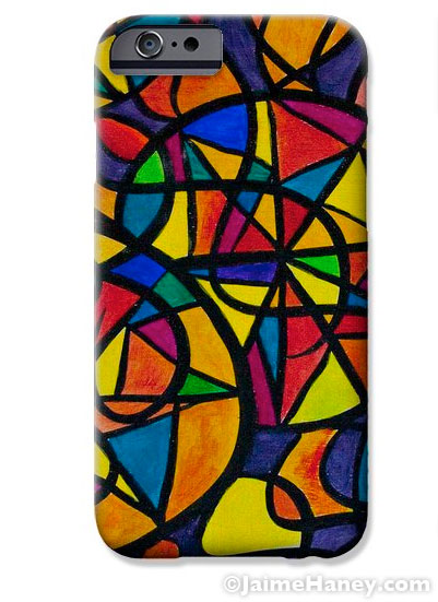 Cell phone case with my painting titled My Three Suns on it