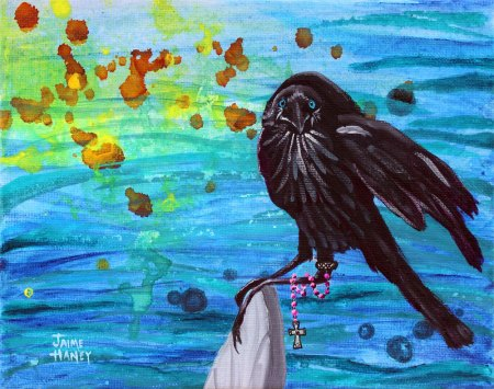 """Beach Crow Muse painting on 10""""x8"""" canvas"""