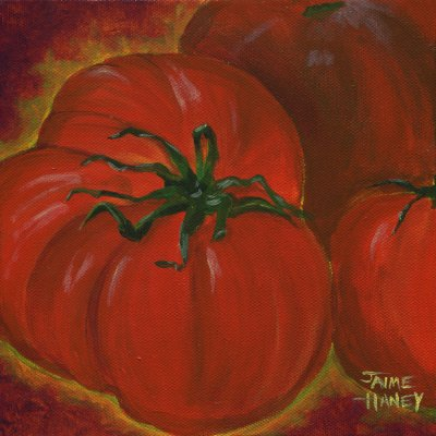 Lots of Red is a painting of red heirloom tomatoes