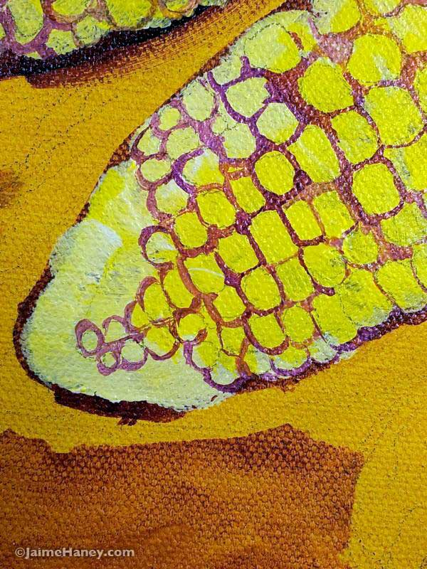 detail of corn, work in progress photo 5 of painted corn