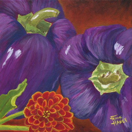 Two purple fresh bell peppers painted on a smoky orange background