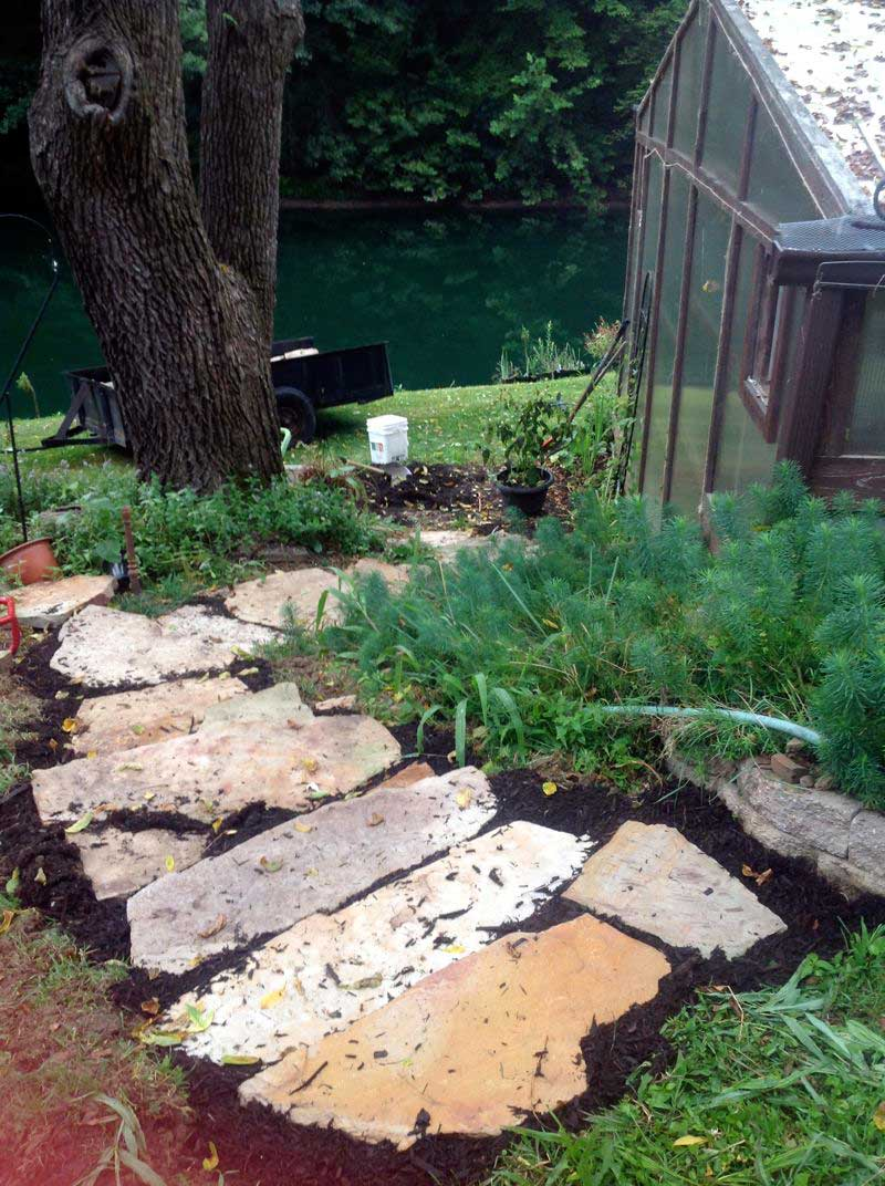 mulched rustic stone steps