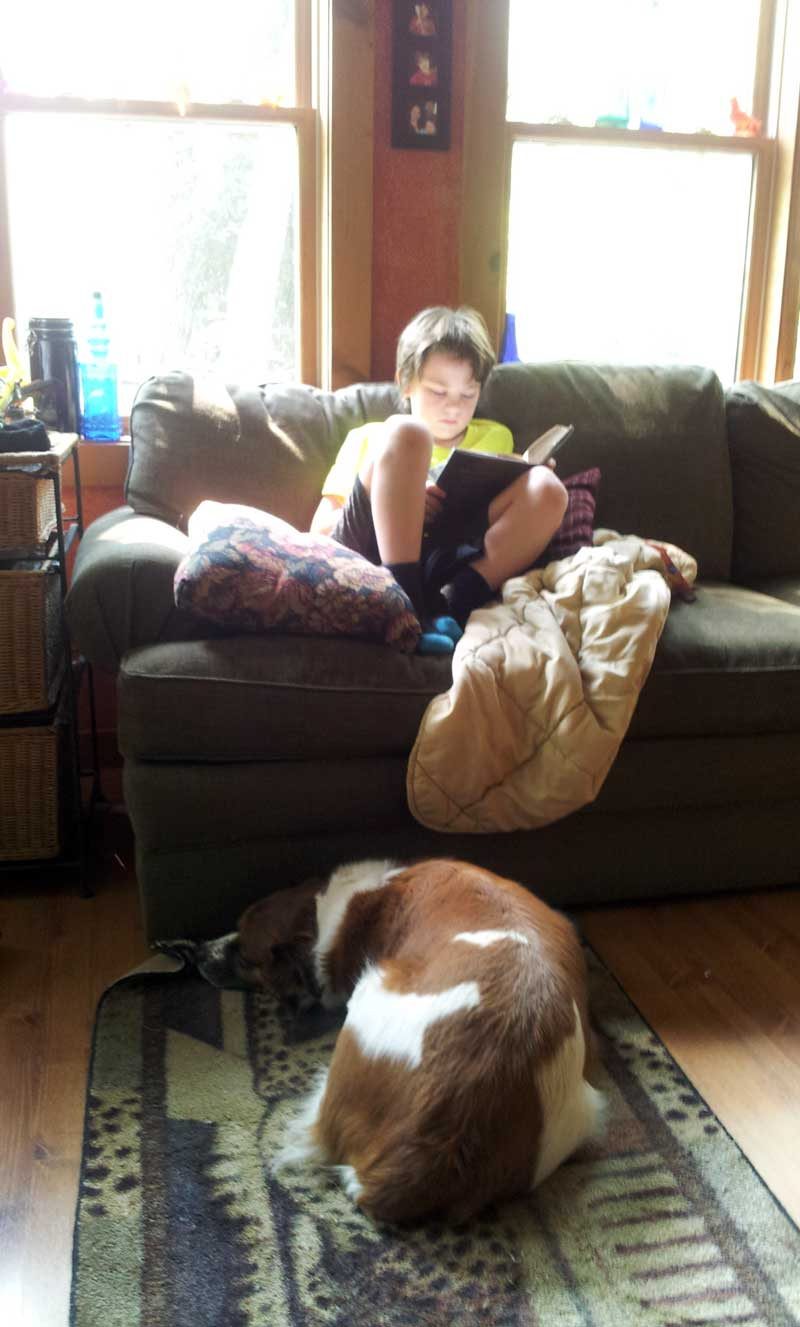 my son reading a book on the couch