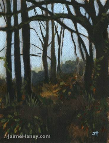 painted study of trees in a forest landscape